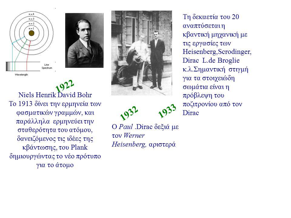 O C.D Anderson ανακαλύπτει το ποζιτρόνιο τo 1932 Walter Bothe James Chadwick To 1930 οι Bothe και Becker και αργότερα ο Chadwick πειραματικά ανακαλύπτουν το νετρόνιο και λύνουν το μυστήριο της διαφορετικότητας του πηλίκου μάζας προς φορτίο για τα άτομα 1933 ο Pauli υποθέτει το νετρίνο για να επιλύσει το πρόβλημα διατήρησης της ορμής και της ενέργειας στην αντίδραση : 1936 1954 1935 Ιστορική φωτογραφία της τροχιάς του ποζιτρονίου μέσα σε θάλαμο φυσαλίδων.