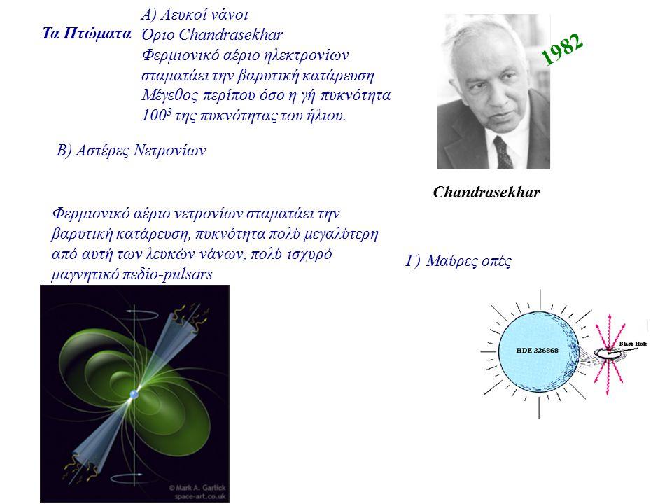 Τα Πτώματα Γ) Μαύρες οπές Α) Λευκοί νάνοι Όριο Chandrasekhar Φερμιονικό αέριο ηλεκτρονίων σταματάει την βαρυτική κατάρευση Μέγεθος περίπου όσο η γή πυ