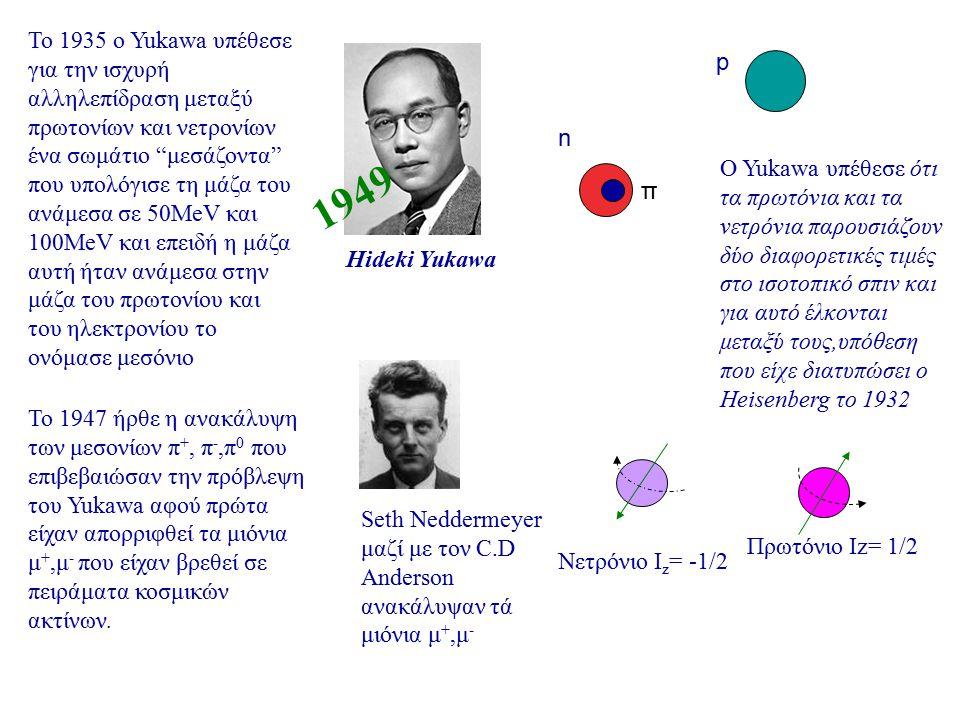 """Το 1935 ο Yukawa υπέθεσε για την ισχυρή αλληλεπίδραση μεταξύ πρωτονίων και νετρονίων ένα σωμάτιο """"μεσάζοντα"""" που υπολόγισε τη μάζα του ανάμεσα σε 50Me"""