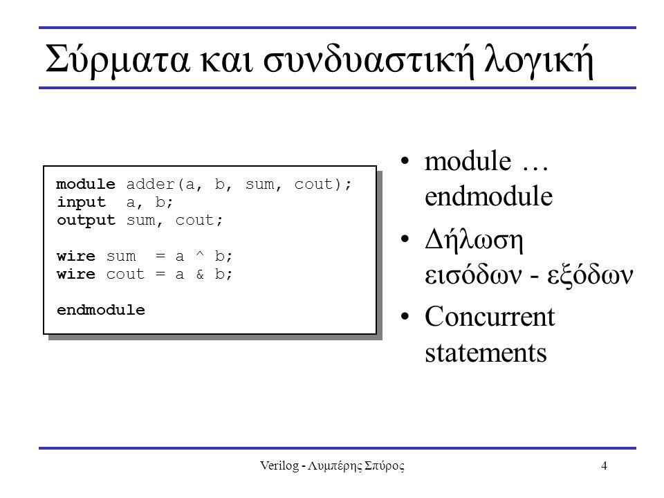Verilog - Λυμπέρης Σπύρος5 Ένα απλό «test bench» module test; reg a, b; wire s, c; adder add0(a, b, s, c); initial begin a = 0; b = 0; #5 $display( a: %x, b: %x, s: %x, c: %x , a, b, s, c); a = 1; #5 $display( a: %x, b: %x, s: %x, c: %x , a, b, s, c); b = 1; #5 $display( a: %x, b: %x, s: %x, c: %x , a, b, s, c); a = 0; #5 $display( a: %x, b: %x, s: %x, c: %x , a, b, s, c); end endmodule module test; reg a, b; wire s, c; adder add0(a, b, s, c); initial begin a = 0; b = 0; #5 $display( a: %x, b: %x, s: %x, c: %x , a, b, s, c); a = 1; #5 $display( a: %x, b: %x, s: %x, c: %x , a, b, s, c); b = 1; #5 $display( a: %x, b: %x, s: %x, c: %x , a, b, s, c); a = 0; #5 $display( a: %x, b: %x, s: %x, c: %x , a, b, s, c); end endmodule module adder(a, b, sum, cout); input a, b; output sum, cout; wire sum = a ^ b; wire cout = a & b; endmodule module adder(a, b, sum, cout); input a, b; output sum, cout; wire sum = a ^ b; wire cout = a & b; endmodule