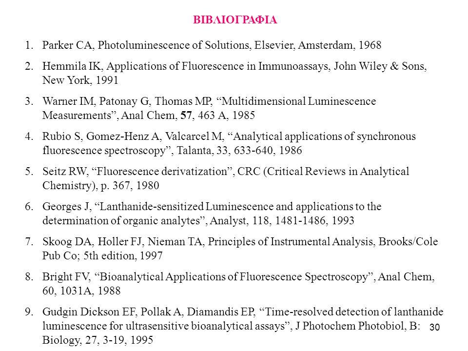 30 BIBΛΙΟΓΡΑΦΙΑ 1.Parker CA, Photoluminescence of Solutions, Elsevier, Amsterdam, 1968 2.Hemmila IK, Applications of Fluorescence in Immunoassays, Joh