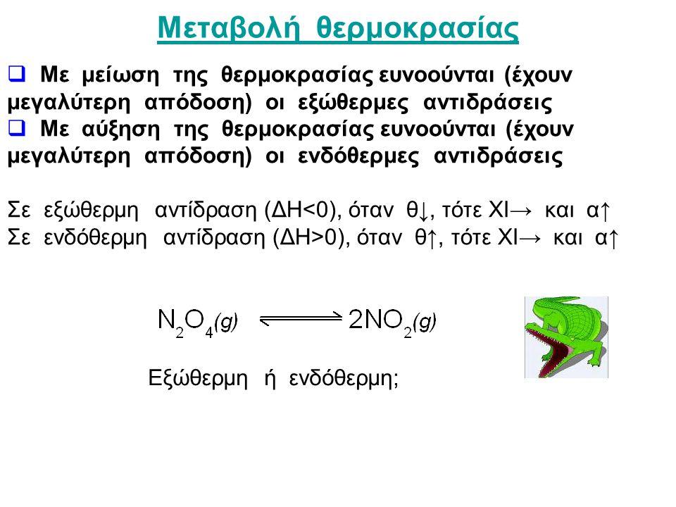 Μεταβολή θερμοκρασίας  Με μείωση της θερμοκρασίας ευνοούνται (έχουν μεγαλύτερη απόδοση) οι εξώθερμες αντιδράσεις  Με αύξηση της θερμοκρασίας ευνοούνται (έχουν μεγαλύτερη απόδοση) οι ενδόθερμες αντιδράσεις Σε εξώθερμη αντίδραση (ΔΗ<0), όταν θ↓, τότε ΧΙ→ και α↑ Σε ενδόθερμη αντίδραση (ΔΗ>0), όταν θ↑, τότε ΧΙ→ και α↑ Εξώθερμη ή ενδόθερμη;