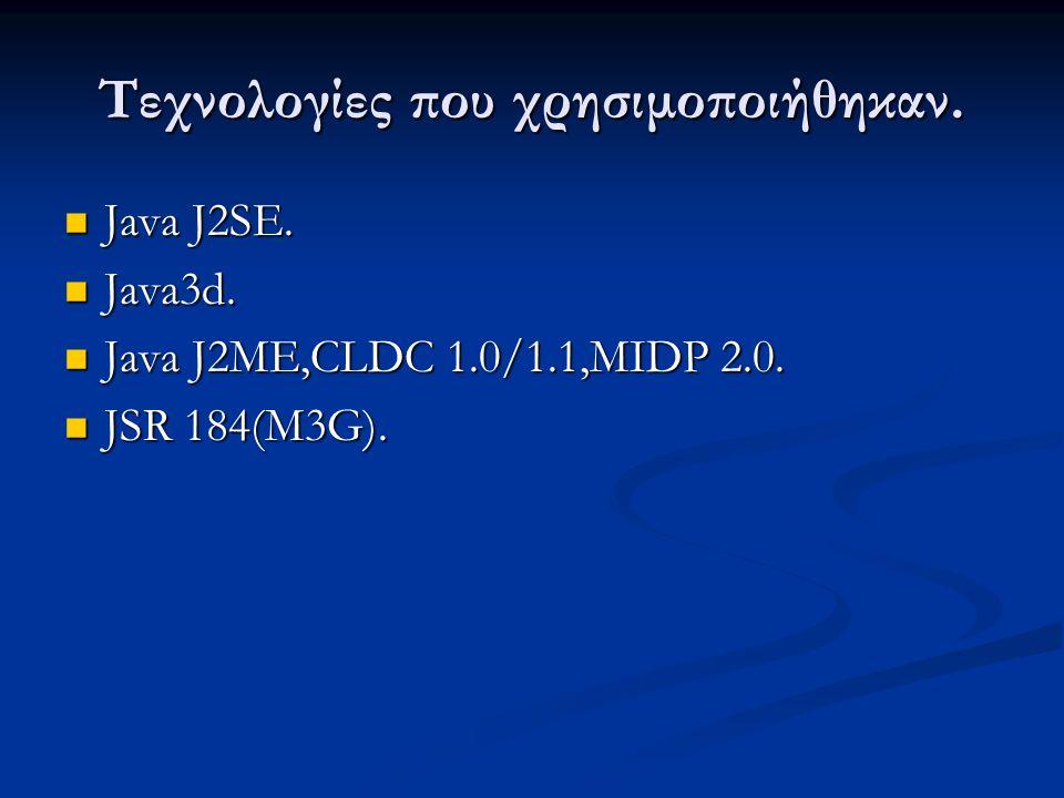 Τεχνολογίες που χρησιμοποιήθηκαν. Java J2SE. Java J2SE. Java3d. Java3d. Java J2ME,CLDC 1.0/1.1,MIDP 2.0. Java J2ME,CLDC 1.0/1.1,MIDP 2.0. JSR 184(M3G)
