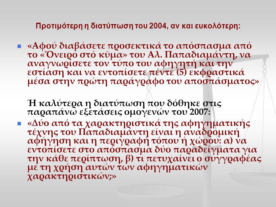 Προτιμότερη η διατύπωση του 2004, αν και ευκολότερη: «Αφού διαβάσετε προσεκτικά το απόσπασµα από το «Ὄνειρο στό κῦµα» του Αλ.