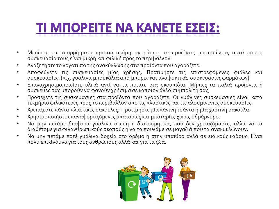 http://www.greenpeace.org/greece/137368/137396/138308 http://www.ee.teihal.gr/labs/pkoukos/PROSTASIA%20PERIBALONTOS/Anakiklosi%20Xartiou.htm http://www.ee.teihal.gr/labs/pkoukos/PROSTASIA%20PERIBALONTOS/Anakiklosi%20Gialiou.htm http://www.ee.teihal.gr/labs/pkoukos/PROSTASIA%20PERIBALONTOS/Anakiklosi%20Alouminiou.htm