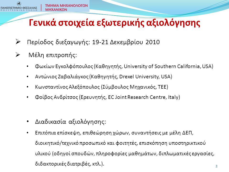 Γενικά στοιχεία εξωτερικής αξιολόγησης  Περίοδος διεξαγωγής: 19-21 Δεκεμβρίου 2010  Μέλη επιτροπής: Φωκίων Εγκολφόπουλος (Καθηγητής, University of Southern California, USA) Αντώνιος Ζαβαλιάγκος (Καθηγητής, Drexel University, USA) Κωνσταντίνος Αλεξόπουλος (Σύμβουλος Μηχανικός, ΤΕΕ) Φοίβος Ανδρίτσος (Ερευνητής, EC Joint Research Centre, Italy) Διαδικασία αξιολόγησης: Επιτόπια επίσκεψη, επιθεώρηση χώρων, συναντήσεις με μέλη ΔΕΠ, διοικητικό/τεχνικό προσωπικό και φοιτητές, επισκόπηση υποστηρικτικού υλικού (οδηγοί σπουδών, πληροφορίες μαθημάτων, διπλωματικές εργασίες, διδακτορικές διατριβές, κτλ.).