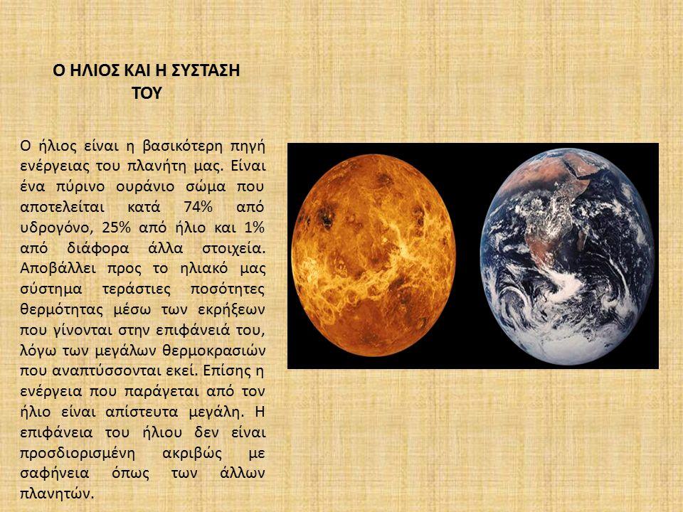Ο ΗΛΙΟΣ ΚΑΙ Η ΣΥΣΤΑΣΗ ΤΟΥ O ήλιος είναι η βασικότερη πηγή ενέργειας του πλανήτη μας. Είναι ένα πύρινο ουράνιο σώμα που αποτελείται κατά 74% από υδρογό