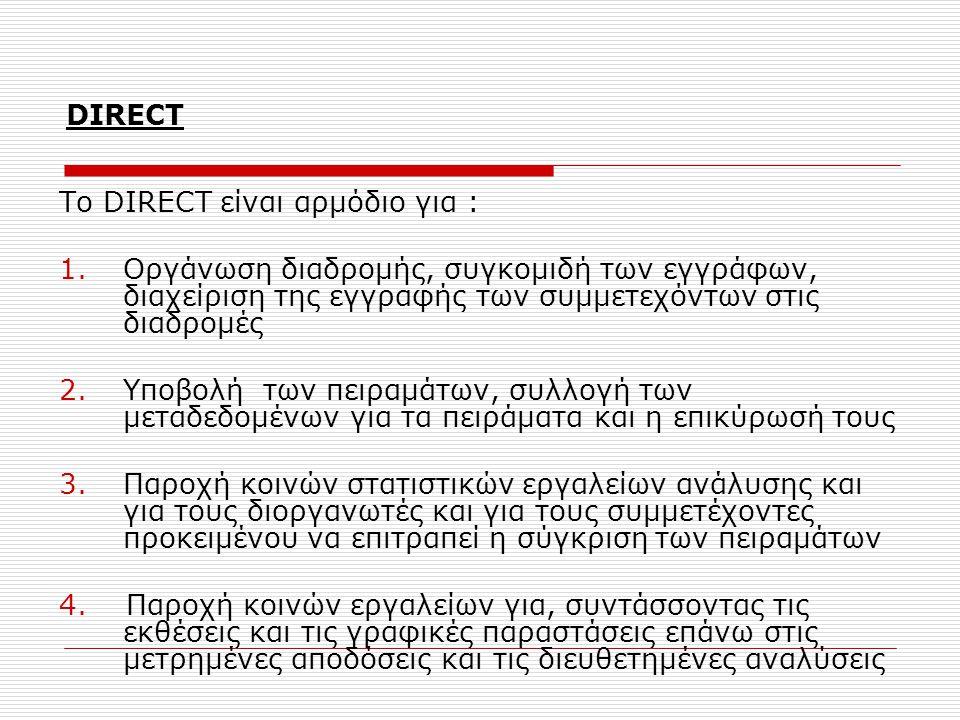 DIRECT To DIRECT είναι αρμόδιο για : 1.Οργάνωση διαδρομής, συγκομιδή των εγγράφων, διαχείριση της εγγραφής των συμμετεχόντων στις διαδρομές 2.Υποβολή των πειραμάτων, συλλογή των μεταδεδομένων για τα πειράματα και η επικύρωσή τους 3.Παροχή κοινών στατιστικών εργαλείων ανάλυσης και για τους διοργανωτές και για τους συμμετέχοντες προκειμένου να επιτραπεί η σύγκριση των πειραμάτων 4.