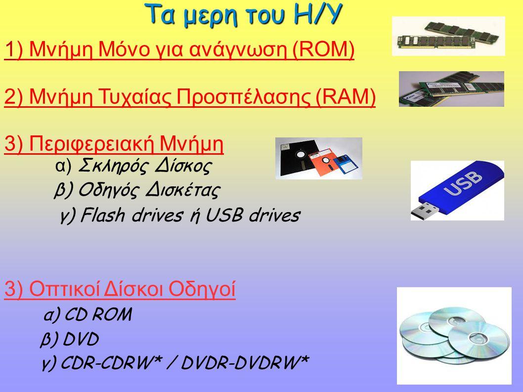 1) Μνήμη Μόνο για ανάγνωση (RΟΜ) 2) Μνήμη Τυχαίας Προσπέλασης (RAM) 3) Περιφερειακή Μνήμη α) Σκληρός Δίσκος β) Οδηγός Δισκέτας γ) Flash drives ή USB d