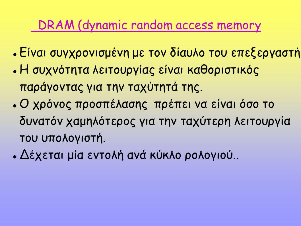 DRAM (dynamic random access memory Είναι συγχρονισμένη με τον δίαυλο του επεξεργαστή. Η συχνότητα λειτουργίας είναι καθοριστικός παράγοντας για την τα