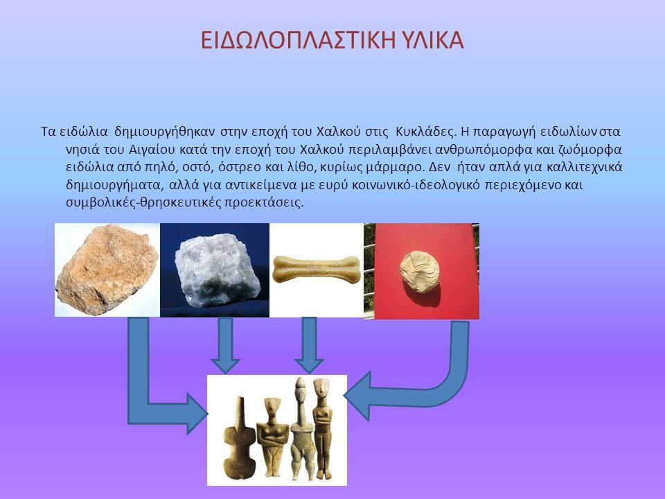 ΜΟΡΦΕΣ,ΣΧΗΜΑΤΑ,ΜΕΓΕΘΟΣ Στην ειδωλοπλαστική της Πρώιμης Χαλκοκρατίας κατέχουν ιδιαίτερη θέση τα μαρμάρινα, κυρίως γυναικεία, ειδώλια της Πρωτοκυκλαδικής περιόδου (3200- 2000 π.Χ.), τα οποία αποτελούν το διαγνωστικό στοιχείο του λεγόμενου Κυκλαδικού πολιτισμού.