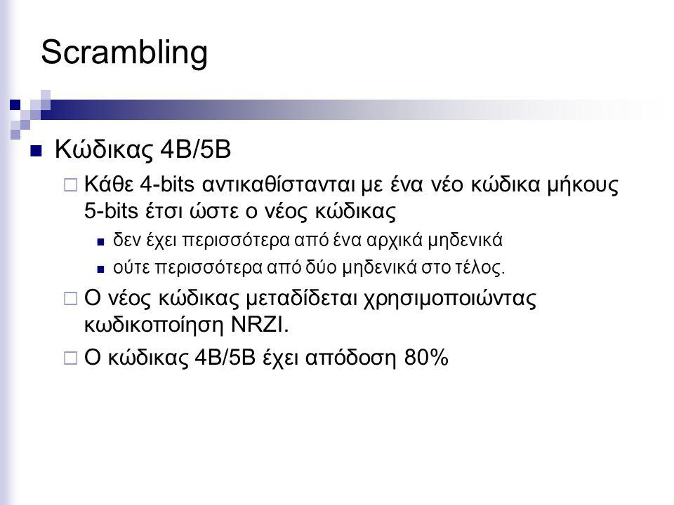 Scrambling Κώδικας 4Β/5Β  Κάθε 4-bits αντικαθίστανται με ένα νέο κώδικα μήκους 5-bits έτσι ώστε ο νέος κώδικας δεν έχει περισσότερα από ένα αρχικά μη