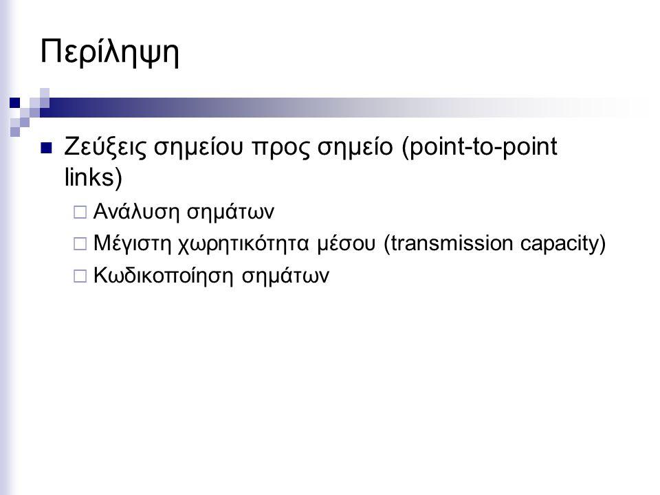 Περίληψη Ζεύξεις σημείου προς σημείο (point-to-point links)  Ανάλυση σημάτων  Μέγιστη χωρητικότητα μέσου (transmission capacity)  Κωδικοποίηση σημά