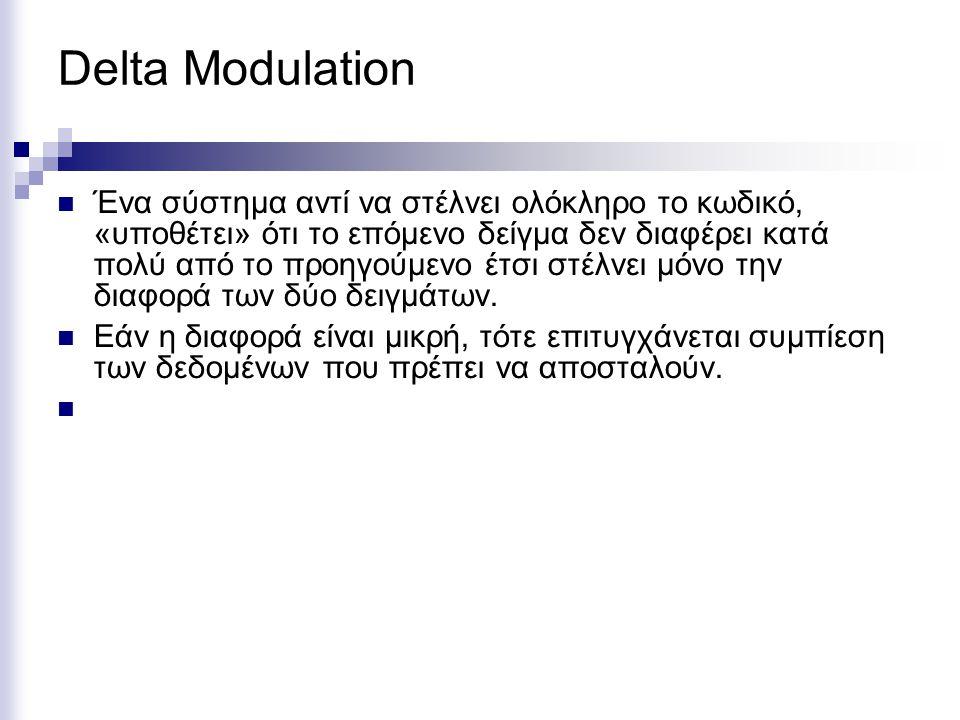Delta Modulation Ένα σύστημα αντί να στέλνει ολόκληρο το κωδικό, «υποθέτει» ότι το επόμενο δείγμα δεν διαφέρει κατά πολύ από το προηγούμενο έτσι στέλν