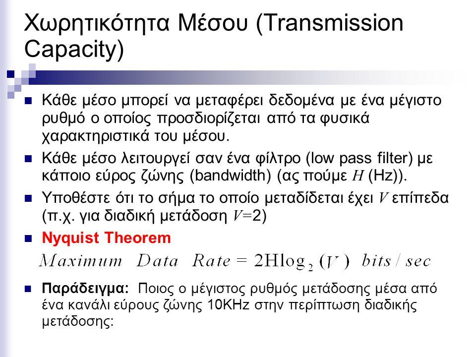 Χωρητικότητα Μέσου (Transmission Capacity) Κάθε μέσο μπορεί να μεταφέρει δεδομένα με ένα μέγιστο ρυθμό ο οποίος προσδιορίζεται από τα φυσικά χαρακτηρι