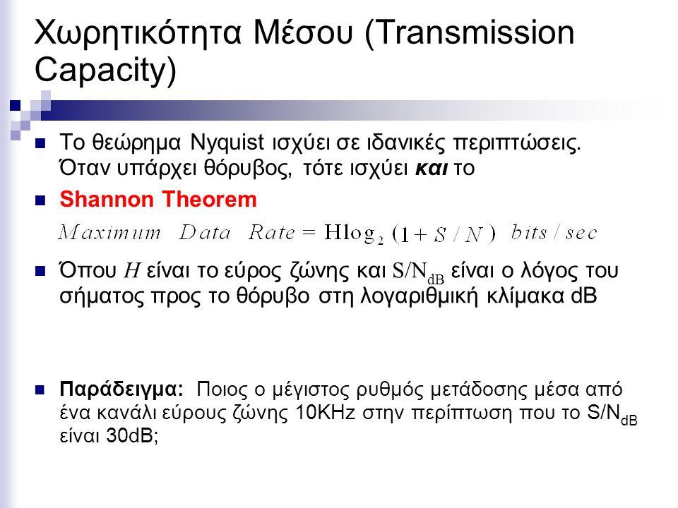 Χωρητικότητα Μέσου (Transmission Capacity) Το θεώρημα Nyquist ισχύει σε ιδανικές περιπτώσεις. Όταν υπάρχει θόρυβος, τότε ισχύει και το Shannon Theorem