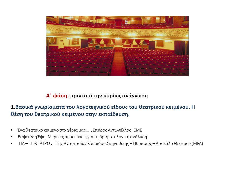 2.Παρουσίαση θεατρικών παραστάσεων που έχουν παρακολουθήσει οι ίδιοι οι μαθητές(αναμνήσεις, ενθύμια, εμπειρίες) Αχ, αυτά τα φαντάσματα, του Εντουάρντο ντε Φιλίπο, σε σκηνοθεσία Γ.Κακλέα,θέατρο Βρετάνια, 2012 Λυσιστράτη του Αριστοφάνη από τη θεατρική ομάδα Σχολείου Δεύτερης Ευκαιρίας Κέρκυρας, Ιούνιος 2008 Ολόκληρος ο Σαίξπηρ σε μια ώρα, του Λονγκ, Ουίνφιλντ, Σίνγκερ σε σκηνοθεσία Αρβανιτάκη, 2012