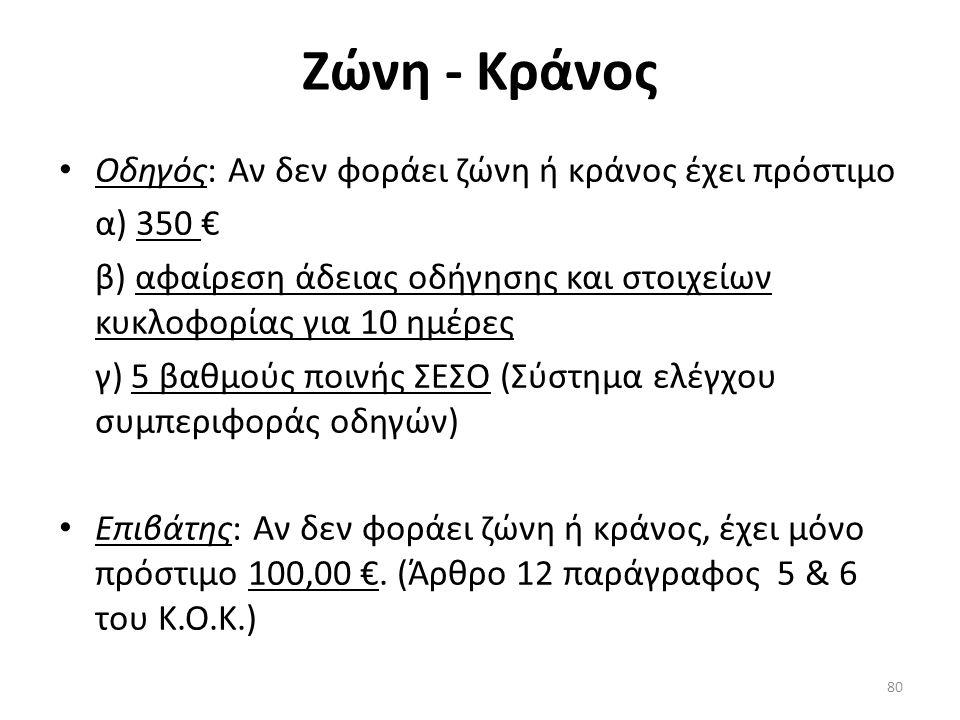 Επιγραφές - Διαφημίσεις Ποινές Για παράνομη ανάρτηση ή επικόλληση διαφημιστικών πινακίδων επιβαλλόμενο πρόστιμο από 1.500 € και έως 10.000 € εάν γίνει χρήση ανεξίτηλων ουσιών (Άρθρο 11 παράγραφος 9 του Κ.Ο.Κ.) 79
