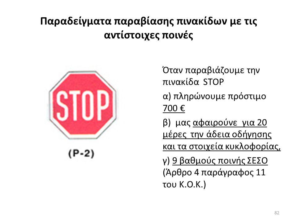 Αυτοσχέδιοι αγώνες οδήγησης Αν πραγματοποιηθούν αυτοσχέδιοι αγώνες – «οδήγηση χάριν εντυπωσιασμού» (οδηγός ) το επιβαλλόμενο πρόστιμο είναι α) 700 € β) αφαίρεση άδειας οδήγησης, αφαίρεση στοιχείων κυκλοφορίας για 30 μέρες γ) 9 βαθμούς ποινής ΣΕΣΟ.