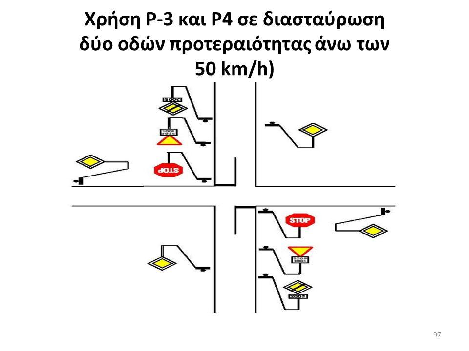 Χρήση πινακίδων Ρ-1, Ρ-3 και Ρ-4 σε κυκλικό κόμβο 96