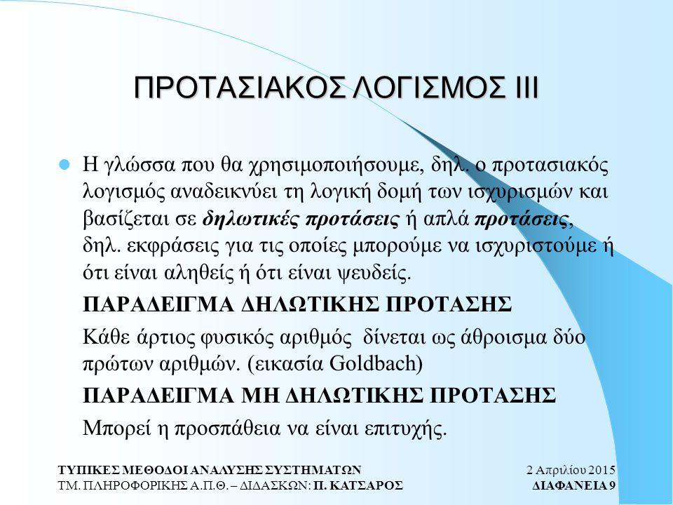 2 Απριλίου 2015 ΔΙΑΦΑΝΕΙΑ 40 ΤΥΠΙΚΕΣ ΜΕΘΟΔΟΙ ΑΝΑΛΥΣΗΣ ΣΥΣΤΗΜΑΤΩΝ ΤΜ.