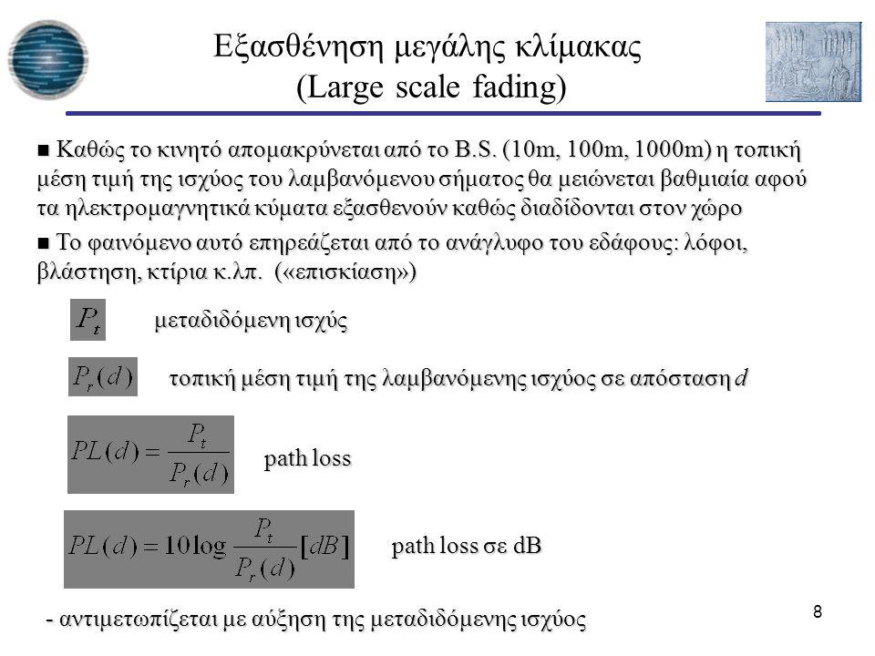 9 Εξασθένηση μεγάλης κλίμακας Friis free space equation Κέρδος κεραίας : Είναι ο λόγος της ακτινοβολούμενης ενέργειας της κεραίας προς συγκεκριμένη κατεύθυνση προς την αντίστοιχη ενέργεια εκπομπής μιας ισότροπης κεραίας με ίδια ισχύ εισόδου - G t : Κέρδος κεραίας πομπού - G r : Κέρδος κεραίας πομπού - λ : Μήκος κύματος - L : παράγοντας άλλων απωλειών (γραμμών μεταφοράς, κεραίας, φίλτρων κ.λπ.) Απαιτείται η μοντελοποίηση των φαινομένων μεγάλης κλίμακας ώστε να είναι δυνατή η πρόβλεψη της μέσης λαμβανόμενης ισχύος σε κάποιο σημείο της κυψέλης και ο προσδιορισμός βασικών ποσοτήτων όπως: ισχύς μετάδοσης, περιοχές κάλυψης, κατανάλωση ενέργειας από το κινητό τερματικό κλπ.