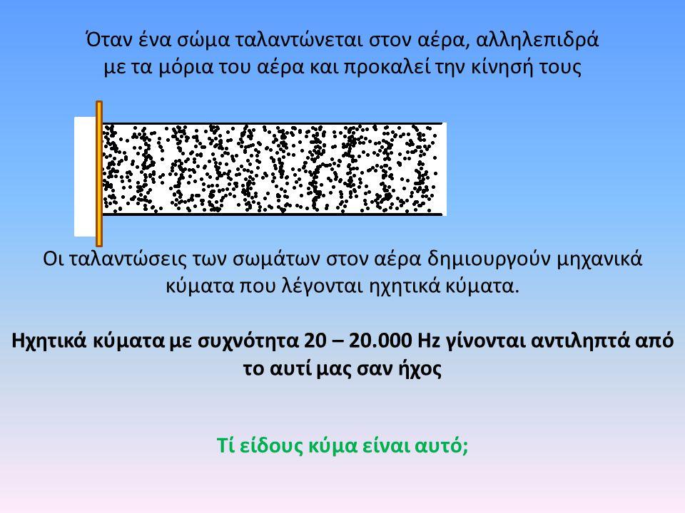 Ένα ηχητικό κύμα που γίνεται αντιληπτό από τον εγκέφαλο χαρακτηρίζεται από κάποια υποκειμενικά χαρακτηριστικά α) το ύψος β) η ακουστότητα γ) η χροιά Η ακουστότητα καθορίζεται κυρίως από την ένταση του ηχητικού κύματος Υπάρχουν ισχυροί και ασθενείς ήχοι Η ένταση μετριέται σε ντεσιμπέλ (dB) και εξαρτάται από το πλάτος του κύματος
