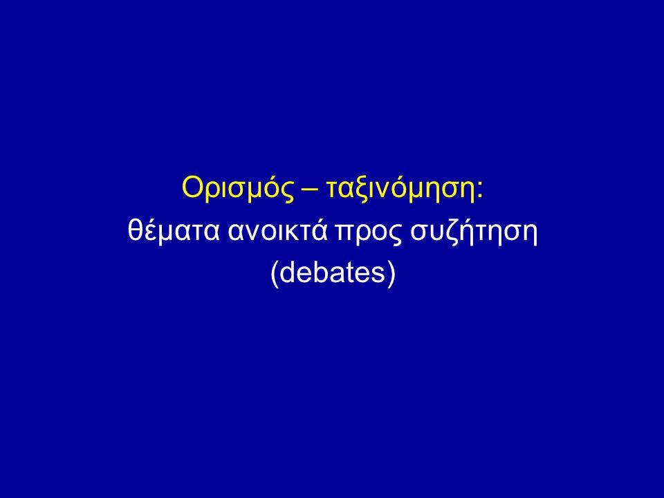 Εμπλεκόμενες απόψεις για ταξινόμηση Phenotyping (περιγραφή συμπτωμάτων) Terminology («λέξεις» χρησιμοποιούμενες για τον φαινότυπο αλλά και τον μηχανισμό) Taxonomy (τοποθέτηση του φαινότυπου σε κλίμακα ιεράρχησης)