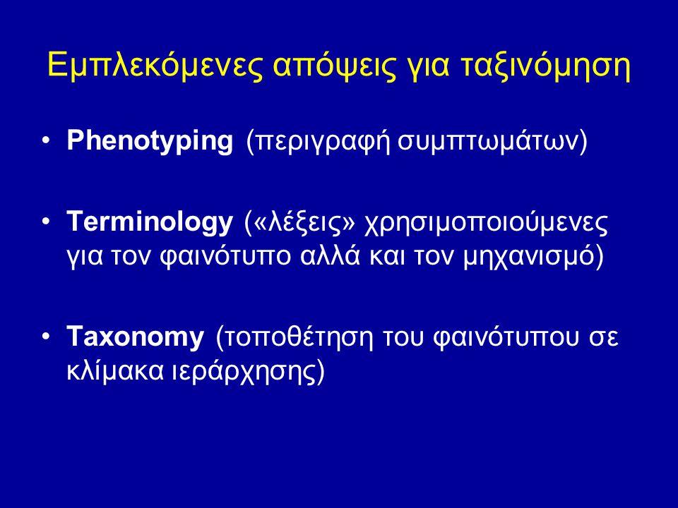 Εμπλεκόμενες απόψεις για ταξινόμηση Phenotyping (περιγραφή συμπτωμάτων) Terminology («λέξεις» χρησιμοποιούμενες για τον φαινότυπο αλλά και τον μηχανισ
