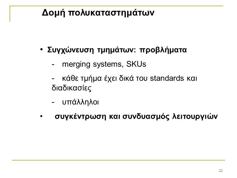 Δομή πολυκαταστημάτων Συγχώνευση τμημάτων: προβλήματα  merging systems, SKUs  κάθε τμήμα έχει δικά του standards και διαδικασίες  υπάλληλοι συγκέντρωση και συνδυασμός λειτουργιών 21