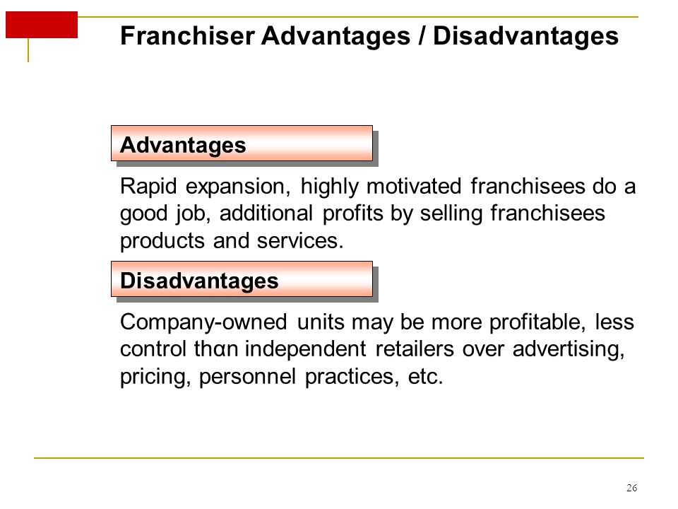 Franchiser Advantages / Disadvantages Advantages Rapid expansion, highly motivated franchisees do a good job, additional profits by selling franchisees products and services.