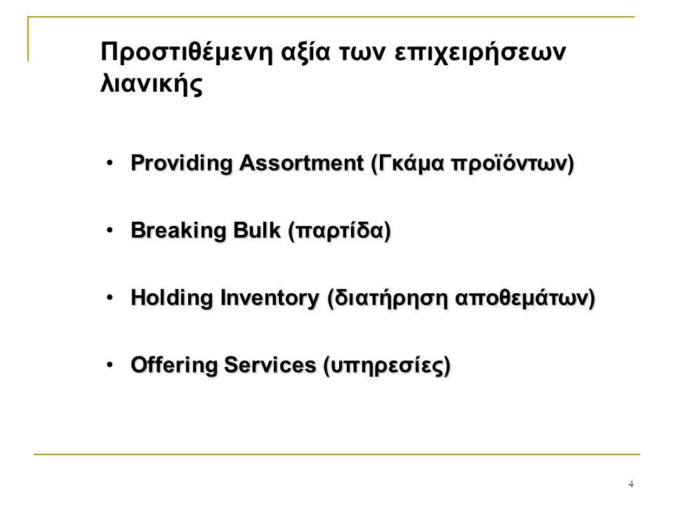 Προστιθέμενη αξία των επιχειρήσεων λιανικής Providing Assortment (Γκάμα προϊόντων) Breaking Bulk (παρτίδα) Holding Inventory (διατήρηση αποθεμάτων) Offering Services (υπηρεσίες) 4