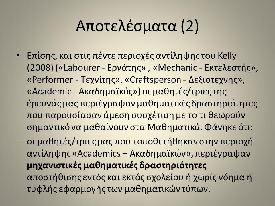 Αποτελέσματα (2) Επίσης, και στις πέντε περιοχές αντίληψης του Kelly (2008) («Labourer - Εργάτης», «Mechanic - Εκτελεστής», «Performer - Τεχνίτης», «Craftsperson - Δεξιοτέχνης», «Academic - Ακαδημαϊκός») οι μαθητές/τριες της έρευνάς μας περιέγραψαν μαθηματικές δραστηριότητες που παρουσίασαν άμεση συσχέτιση με το τι θεωρούν σημαντικό να μαθαίνουν στα Μαθηματικά.