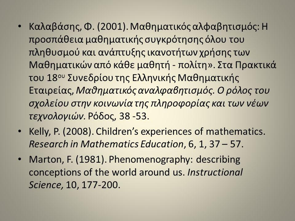 Καλαβάσης, Φ. (2001). Μαθηματικός αλφαβητισμός: Η προσπάθεια μαθηματικής συγκρότησης όλου του πληθυσμού και ανάπτυξης ικανοτήτων χρήσης των Μαθηματικώ