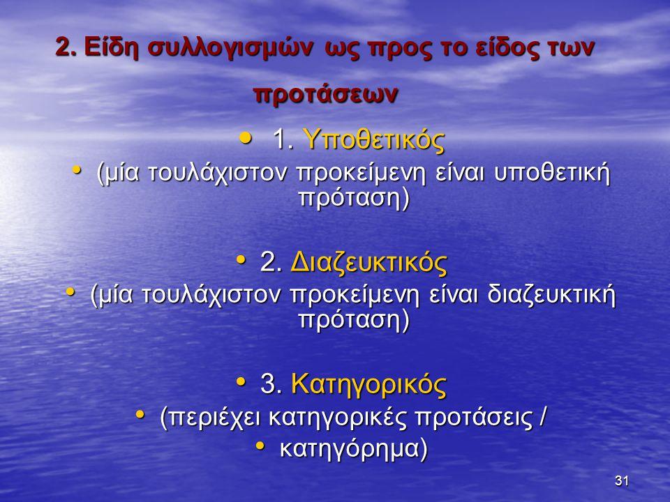 31 2.Είδη συλλογισμών ως προς το είδος των προτάσεων 1.