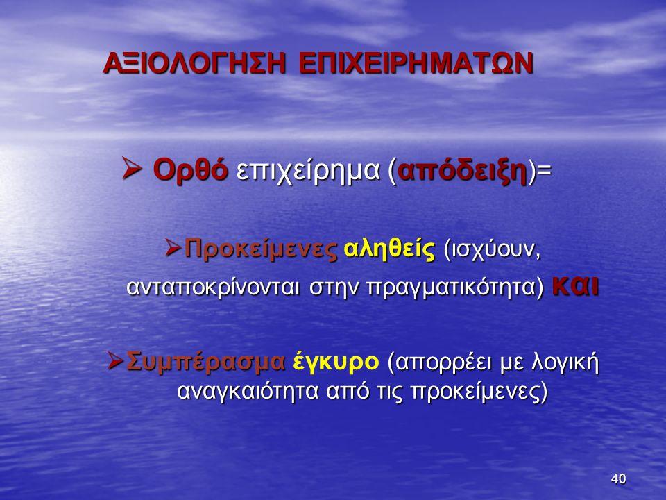 40 ΑΞΙΟΛΟΓΗΣΗ ΕΠΙΧΕΙΡΗΜΑΤΩΝ ΑΞΙΟΛΟΓΗΣΗ ΕΠΙΧΕΙΡΗΜΑΤΩΝ  Ορθό επιχείρημα (απόδειξη )=  Προκείμενες αληθείς (ισχύουν, ανταποκρίνονται στην πραγματικότητα) και  Συμπέρασμα (απορρέει με λογική αναγκαιότητα από τις προκείμενες)  Συμπέρασμα έγκυρο (απορρέει με λογική αναγκαιότητα από τις προκείμενες)