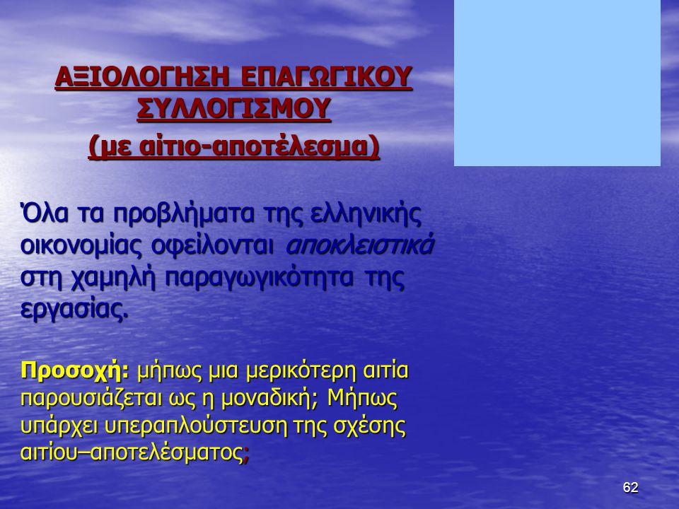 62 ΑΞΙΟΛΟΓΗΣΗ ΕΠΑΓΩΓΙΚΟΥ ΣΥΛΛΟΓΙΣΜΟΥ (με αίτιο-αποτέλεσμα) Όλα τα προβλήματα της ελληνικής οικονομίας οφείλονται αποκλειστικά στη χαμηλή παραγωγικότητα της εργασίας.