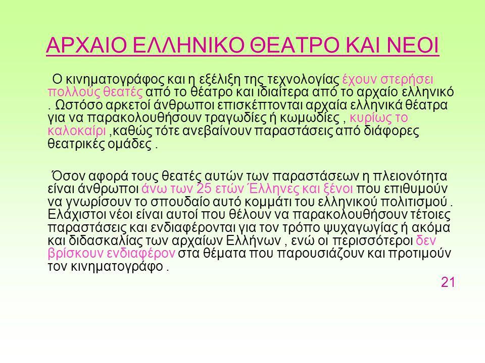 ΑΡΧΑΙΟ ΕΛΛΗΝΙΚΟ ΘΕΑΤΡΟ ΚΑΙ ΝΕΟΙ Ο κινηματογράφος και η εξέλιξη της τεχνολογίας έχουν στερήσει πολλούς θεατές από το θέατρο και ιδιαίτερα από το αρχαίο ελληνικό.