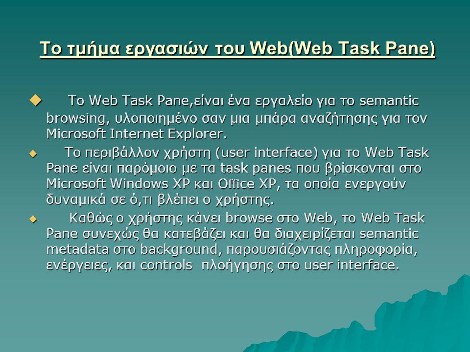  Το Web Task Pane,είναι ένα εργαλείο για το semantic browsing, υλοποιημένο σαν μια μπάρα αναζήτησης για τον Microsoft Internet Explorer.  Το περιβάλ
