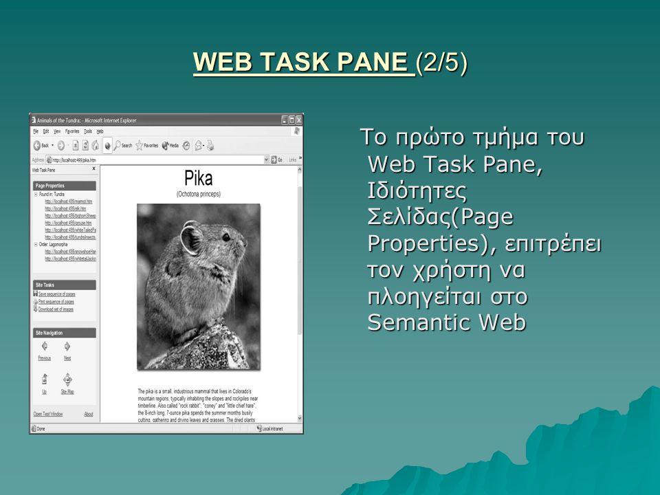 WEB TASK PANE (2/5) Το πρώτο τμήμα του Web Task Pane, Ιδιότητες Σελίδας(Page Properties), επιτρέπει τον χρήστη να πλοηγείται στο Semantic Web Το πρώτο τμήμα του Web Task Pane, Ιδιότητες Σελίδας(Page Properties), επιτρέπει τον χρήστη να πλοηγείται στο Semantic Web