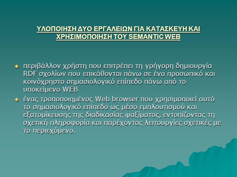 ΥΛΟΠΟΙΗΣΗ ΔΥΟ ΕΡΓΑΛΕΙΩΝ ΓΙΑ ΚΑΤΑΣΚΕΥΗ ΚΑΙ ΧΡΗΣΙΜΟΠΟΙΗΣΗ ΤΟΥ SEMANTIC WEB  περιβάλλον χρήστη που επιτρέπει τη γρήγορη δημιουργία RDF σχολίων που επικάθονται πάνω σε ένα προσωπικό και κοινόχρηστο σημασιολογικό επίπεδο πάνω από το υποκείμενο WEB  ένας τροποποιημένος Web browser που χρησιμοποιεί αυτό το σημασιολογικό επίπεδο ως μέσο εμπλουτισμού και εξατομίκευσης της διαδικασίας ψαξίματος, εντοπίζοντας τη σχετική πληροφορία και παρέχοντας λειτουργίες σχετικές με το περιεχόμενο.