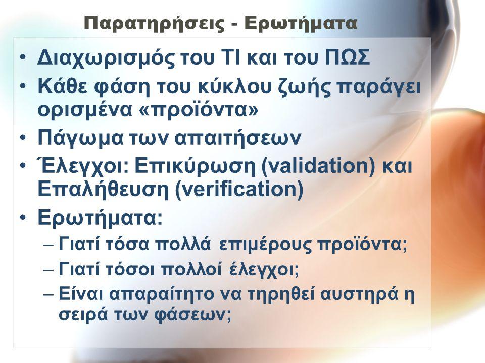Παρατηρήσεις - Ερωτήματα Διαχωρισμός του ΤΙ και του ΠΩΣ Κάθε φάση του κύκλου ζωής παράγει ορισμένα «προϊόντα» Πάγωμα των απαιτήσεων Έλεγχοι: Επικύρωση (validation) και Επαλήθευση (verification) Ερωτήματα: –Γιατί τόσα πολλά επιμέρους προϊόντα; –Γιατί τόσοι πολλοί έλεγχοι; –Είναι απαραίτητο να τηρηθεί αυστηρά η σειρά των φάσεων;