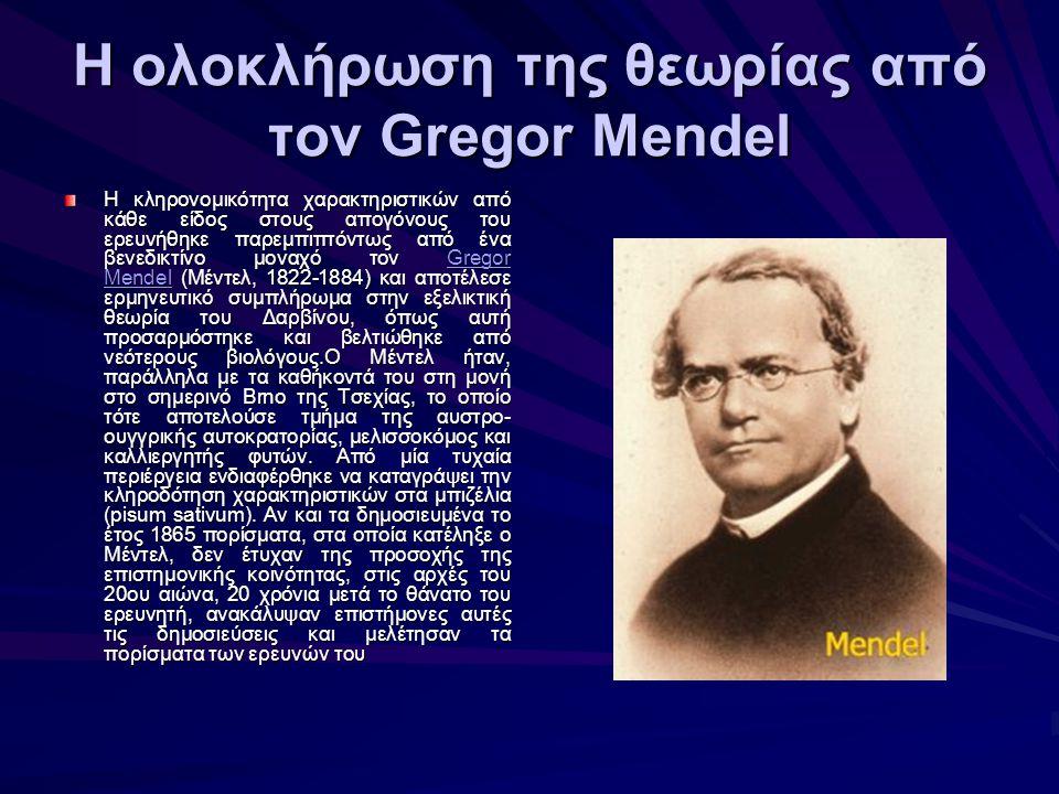 Η ολοκλήρωση της θεωρίας από τον Gregor Mendel Η κληρονομικότητα χαρακτηριστικών από κάθε είδος στους απογόνους του ερευνήθηκε παρεμπιπτόντως από ένα