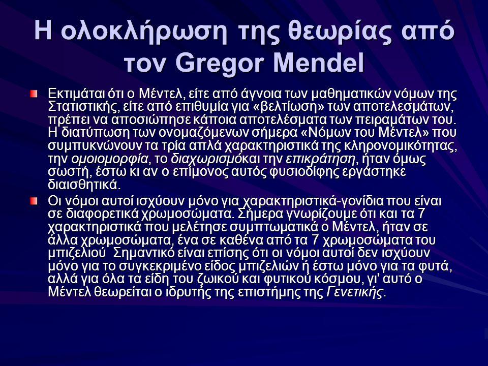 Η ολοκλήρωση της θεωρίας από τον Gregor Mendel Εκτιμάται ότι ο Μέντελ, είτε από άγνοια των μαθηματικών νόμων της Στατιστικής, είτε από επιθυμία για «β