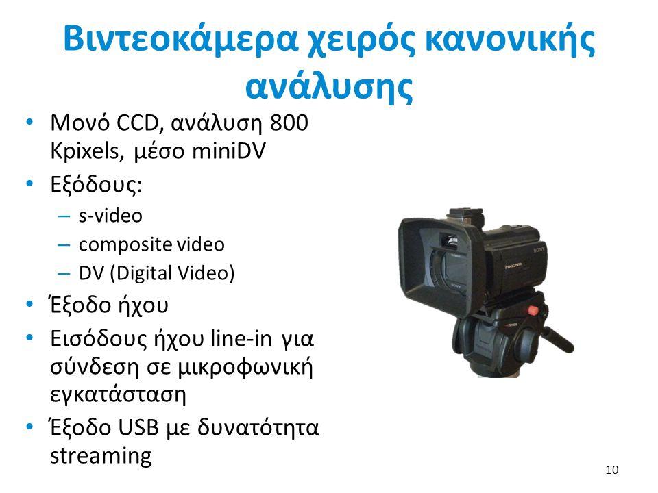 Βιντεοκάμερα χειρός κανονικής ανάλυσης Μονό CCD, ανάλυση 800 Κpixels, μέσο miniDV Εξόδους: – s-video – composite video – DV (Digital Video) Έξοδο ήχου