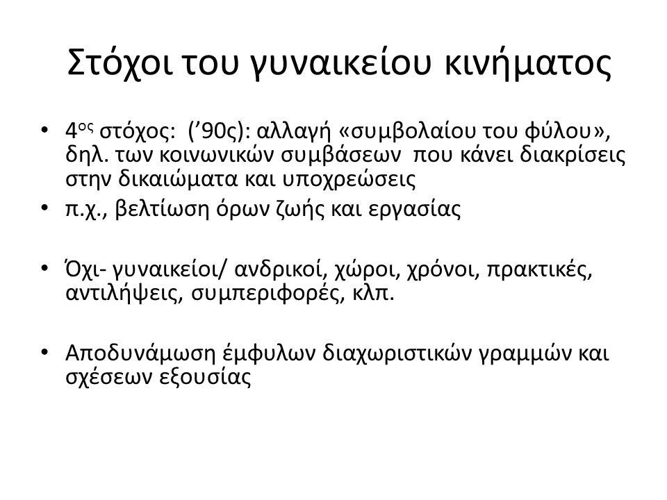 Στόχοι του γυναικείου κινήματος 4 ος στόχος: ('90ς): αλλαγή «συμβολαίου του φύλου», δηλ.