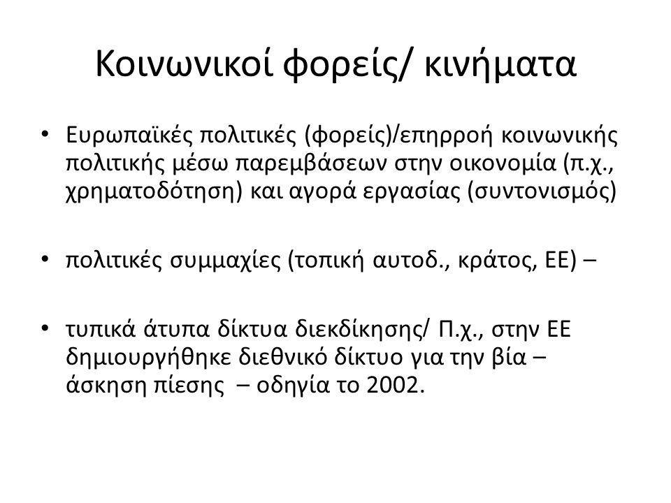Κοινωνικοί φορείς/ κινήματα Ευρωπαϊκές πολιτικές (φορείς) / επηρροή κοινωνικής πολιτικής μέσω παρεμβάσεων στην οικονομία (π.χ., χρηματοδότηση) και αγορά εργασίας (συντονισμός) πολιτικές συμμαχίες (τοπική αυτοδ., κράτος, ΕΕ) – τυπικά άτυπα δίκτυα διεκδίκησης / Π.χ., στην ΕΕ δημιουργήθηκε διεθνικό δίκτυο για την βία – άσκηση πίεσης – οδηγία το 2002.