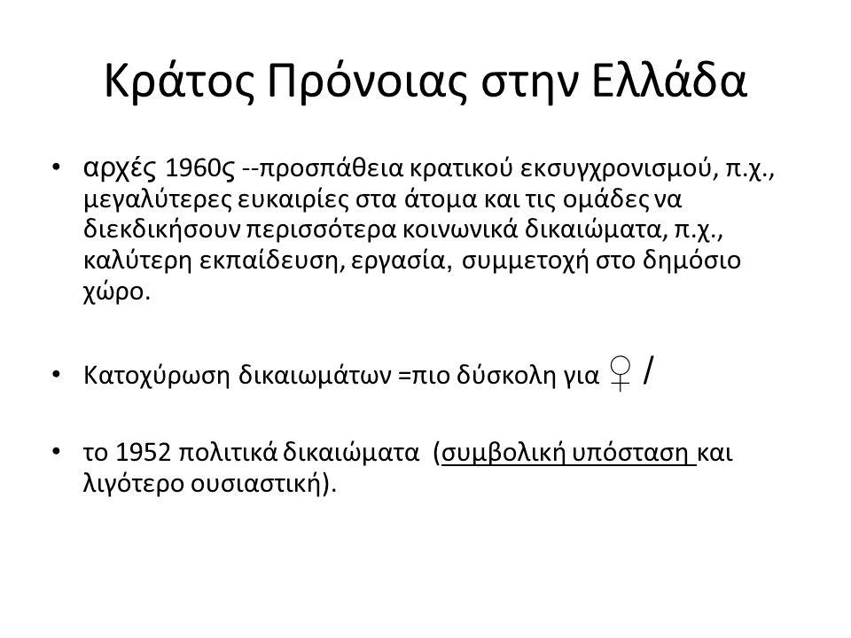 κοινωνική πολιτική στην Ελλάδα Κράτος = προσωπικές/ πελατειακές σχέσεις και λιγότερο μέσω θεσμικών ρυθμίσεων.