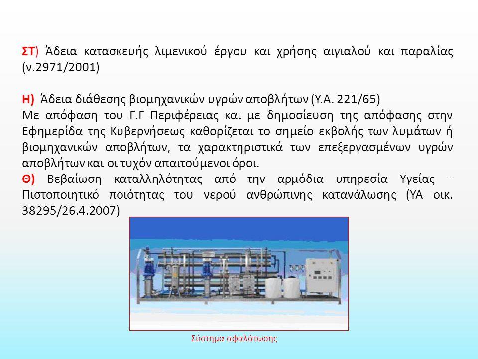 ΣΤ) Άδεια κατασκευής λιμενικού έργου και χρήσης αιγιαλού και παραλίας (ν.2971/2001) Η) Άδεια διάθεσης βιομηχανικών υγρών αποβλήτων (Υ.Α.