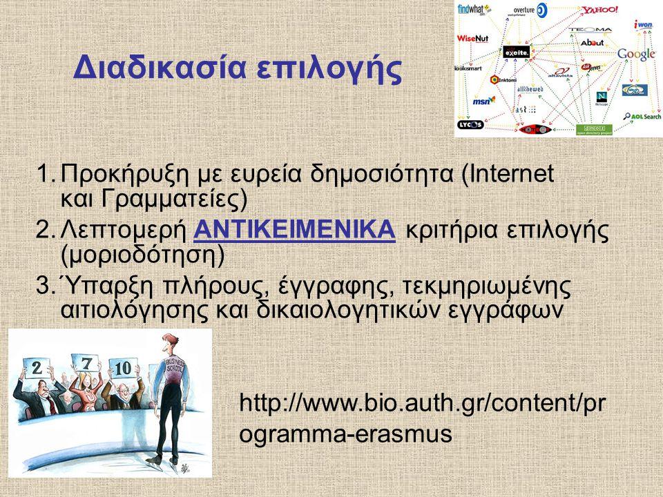 Διαδικασία επιλογής 1.Προκήρυξη με ευρεία δημοσιότητα (Internet και Γραμματείες) 2.Λεπτομερή ΑΝΤΙΚΕΙΜΕΝΙΚΑ κριτήρια επιλογής (μοριοδότηση) 3.Ύπαρξη πλ